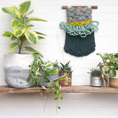 CLOUD 10 COLLECTION: Pine Green and Seafoam Cloud | Woven Wall Hanging
