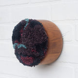 Puff | Plum, Navy, Blue and Purple | Fiber Art Sculpture in Vintage Teak Bowl
