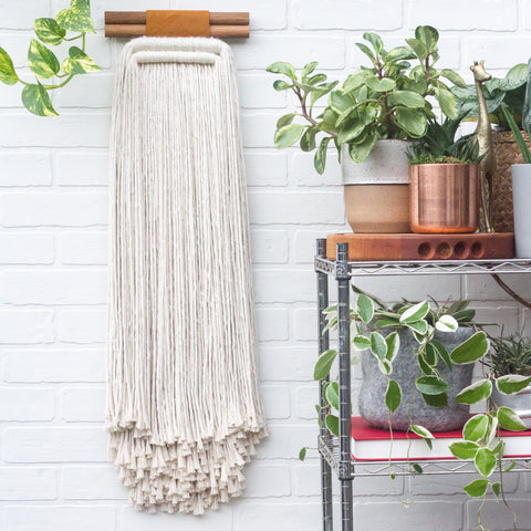 Large, Neutral Fringed Woven Wall Hanging with Double Dowels and Recycled Leather