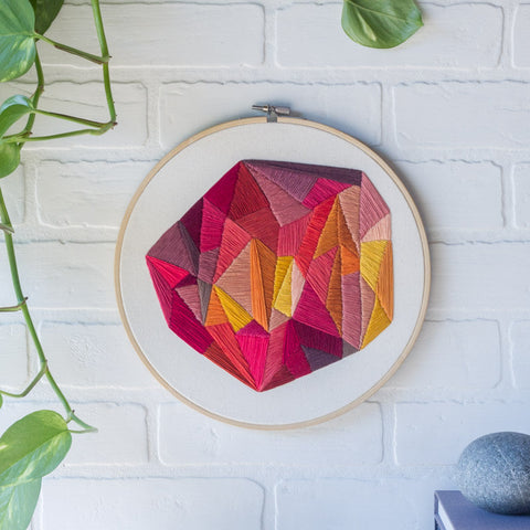 Embroidery Hoop Art, Hand Embroidered Wall Art, Geometric Design, Abstract Embroidery, Large Hoop, Nursery Decor, Housewarming Gift, For Her