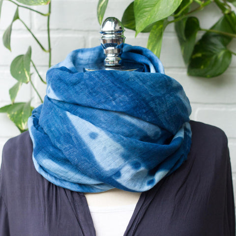 Scarf for Women, Naturally Dyed, Indigo Scarf, Indigo Swaddle, Double Gauze Cotton, Oversize Scarf, Indigo Baby Blanket, Gender Neutral Gift