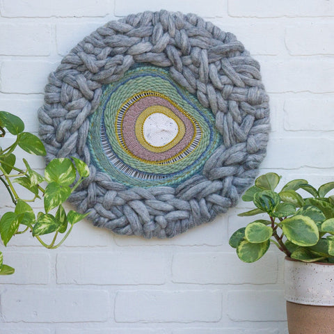 Woven Wall Hanging, Round Weaving, Circular Fiber Art, Modern Textile Design, Nursery Decor, Mothers Day Gift, Bedroom Art, Gallery Wall