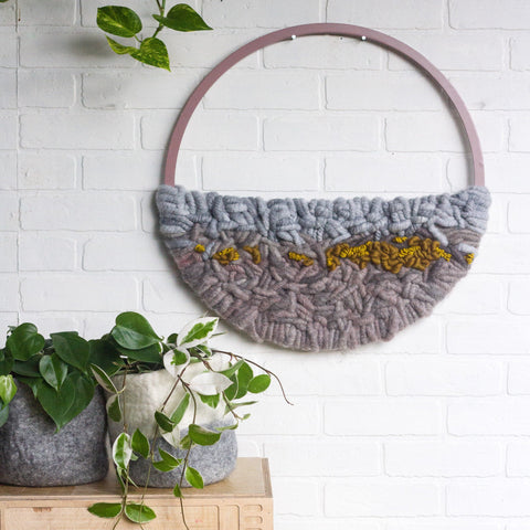 Round Wall Hanging, Circle Weaving, Woven Fiber Art, Modern Textile Art, Neutral Nursery Decor, Over the Bed Art, Abstract Round Tapestry