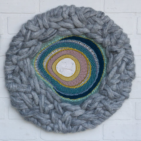 Round Woven Wall Hanging | Marbled Grey with Multi Colored Center Weaving on Metal Hoop