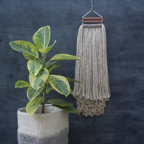 Linen Blend + Copper Accent Fringe Woven Wall Hanging