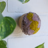 RESERVED for KIMBERLY EARLES | Mini Puff Fiber Art in Mauve + Chartreuse