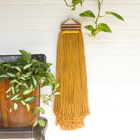 Mustard + Copper Woven Wall Hanging with Long Fringe
