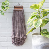 Storm Grey + Copper Fringe Woven Wall Hanging