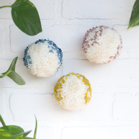 Puff Trio | Mini Puff Set in White with Pink + Blue + Yellow Edges