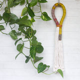 Rope Wrapped Wall Hanging with Recycled Leather Band
