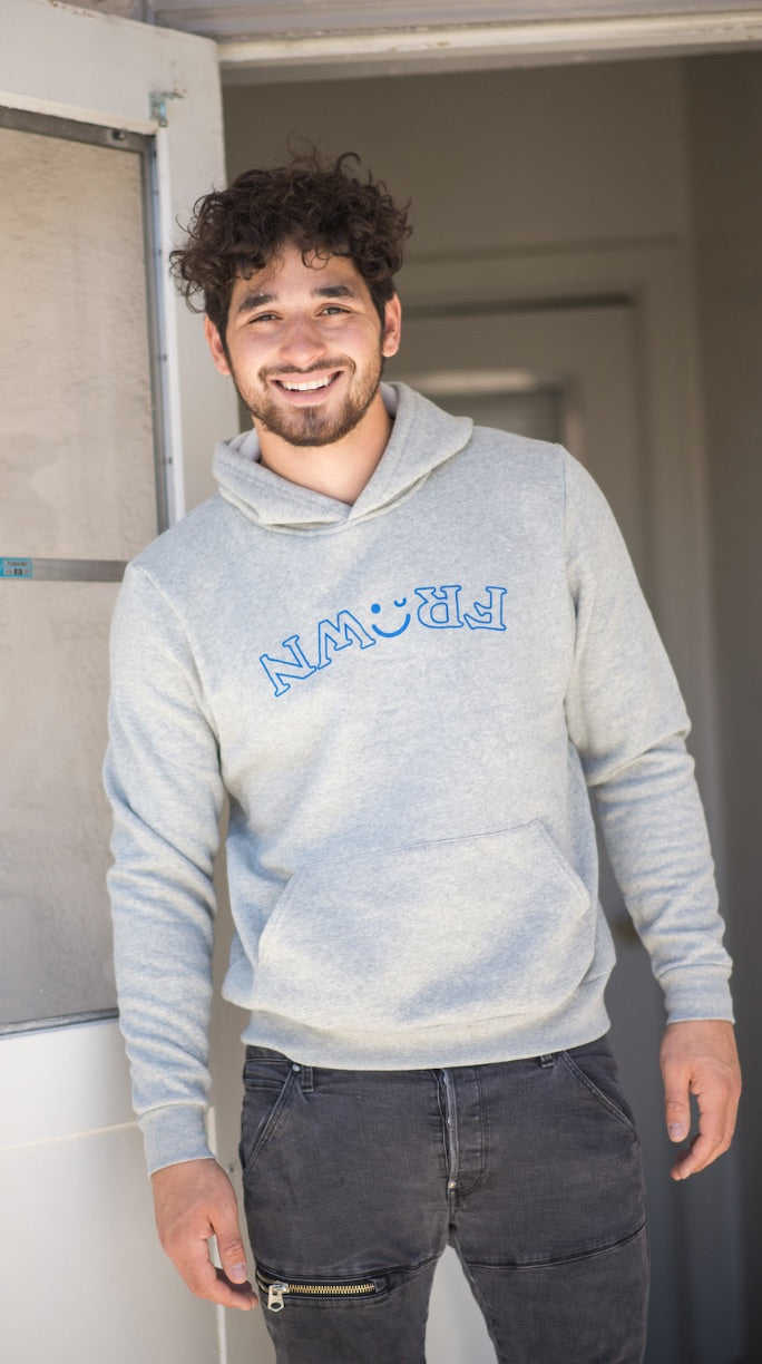 Original Gray Hoodie With Blue
