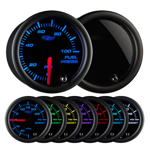 Tinted 7 Color 100 PSI Fuel Pressure Gauge