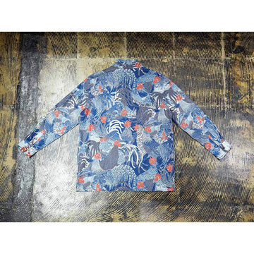 Indigo Discharge Rooster Han-ten Shirt