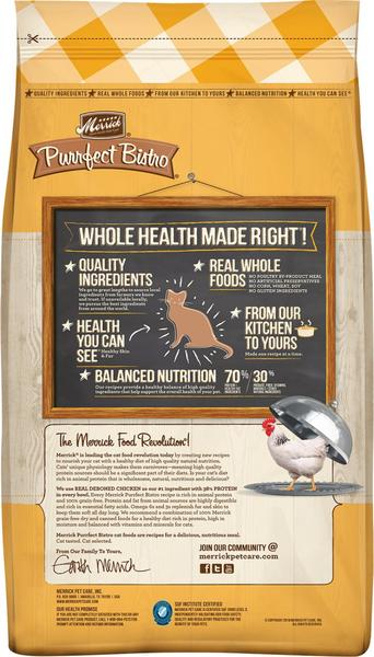 Merrick Purrfect Bistro Grain Free Real Chicken & Sweet Potato Recipe Dry Cat Food BAck