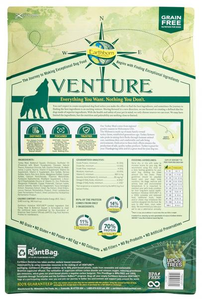 Earthborn Holistic Venture Grain Free Turkey Meal and Butternut Squash Dry Dog Food Back