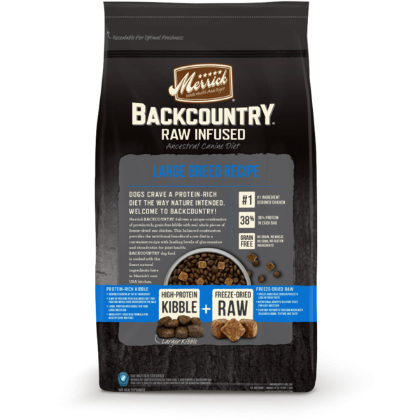 Merrick Backcountry Raw Infused Grain Free Large Breed Recipe Dry Dog Food Back