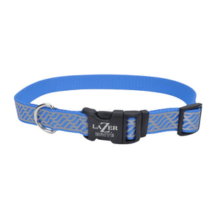 "Coastal Lazer Bright Reflective Adjustable Collar 18-26"" - 1"" Blue Lagoon Wave"