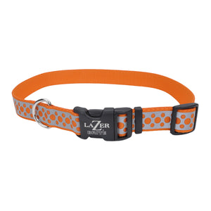 "Coastal Lazer Bright Reflective Adjustable Collar 8-12"" - 3/8"" Orange Abstract Rings"