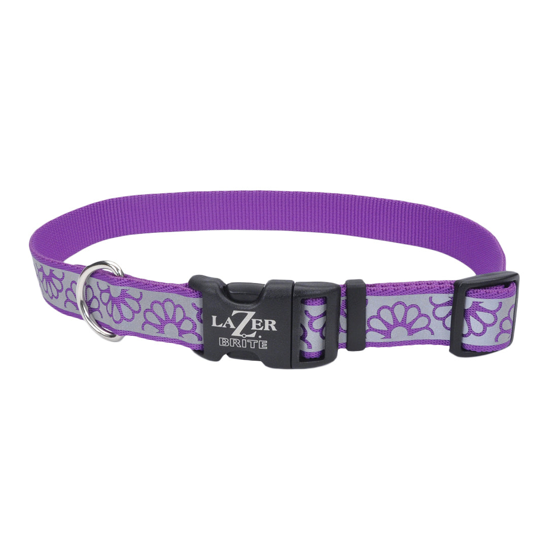 "Coastal Lazer Bright Reflective Adjustable Collar 12-18"" - 5/8"" Purple Daisy"