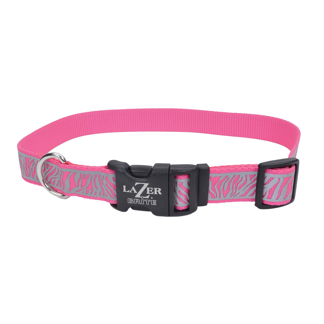"Coastal Lazer Bright Reflective Adjustable Collar 12-18"" - 5/8"" Pink Zebra"