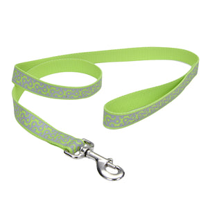 "Coastal Lazer Bright Reflective Leash 6' - 5/8"" Lime Geometric"