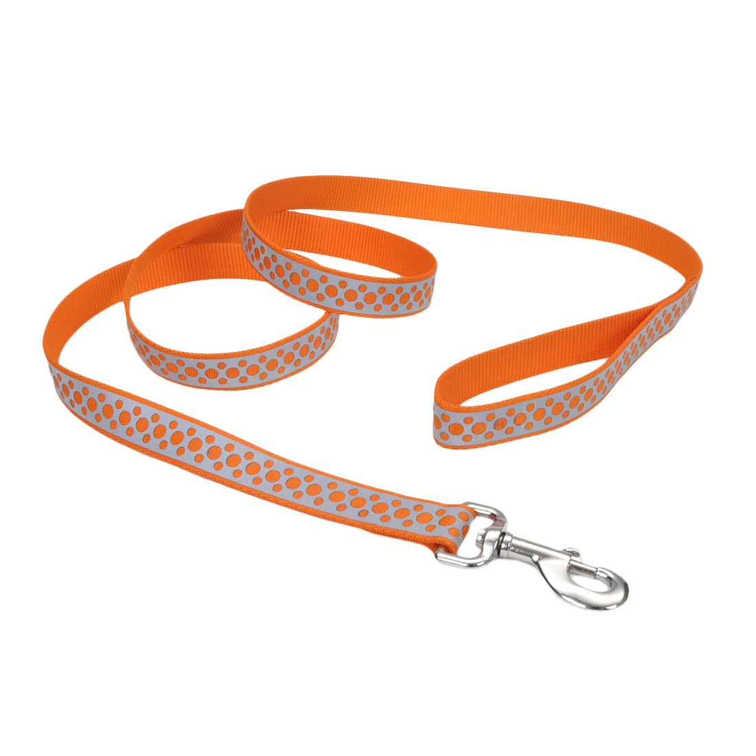 "Coastal Lazer Bright Reflective Leash 6' - 1"" Orange Abstract Rings"