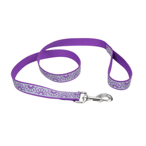 "Coastal Lazer Bright Reflective Leash 6' - 1"" Purple Daisy"