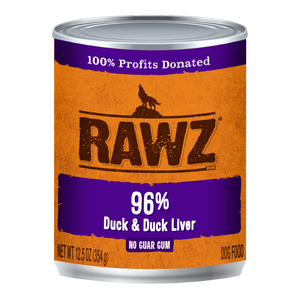 RAWZ 96% Duck and Duck Liver Wet Dog Food