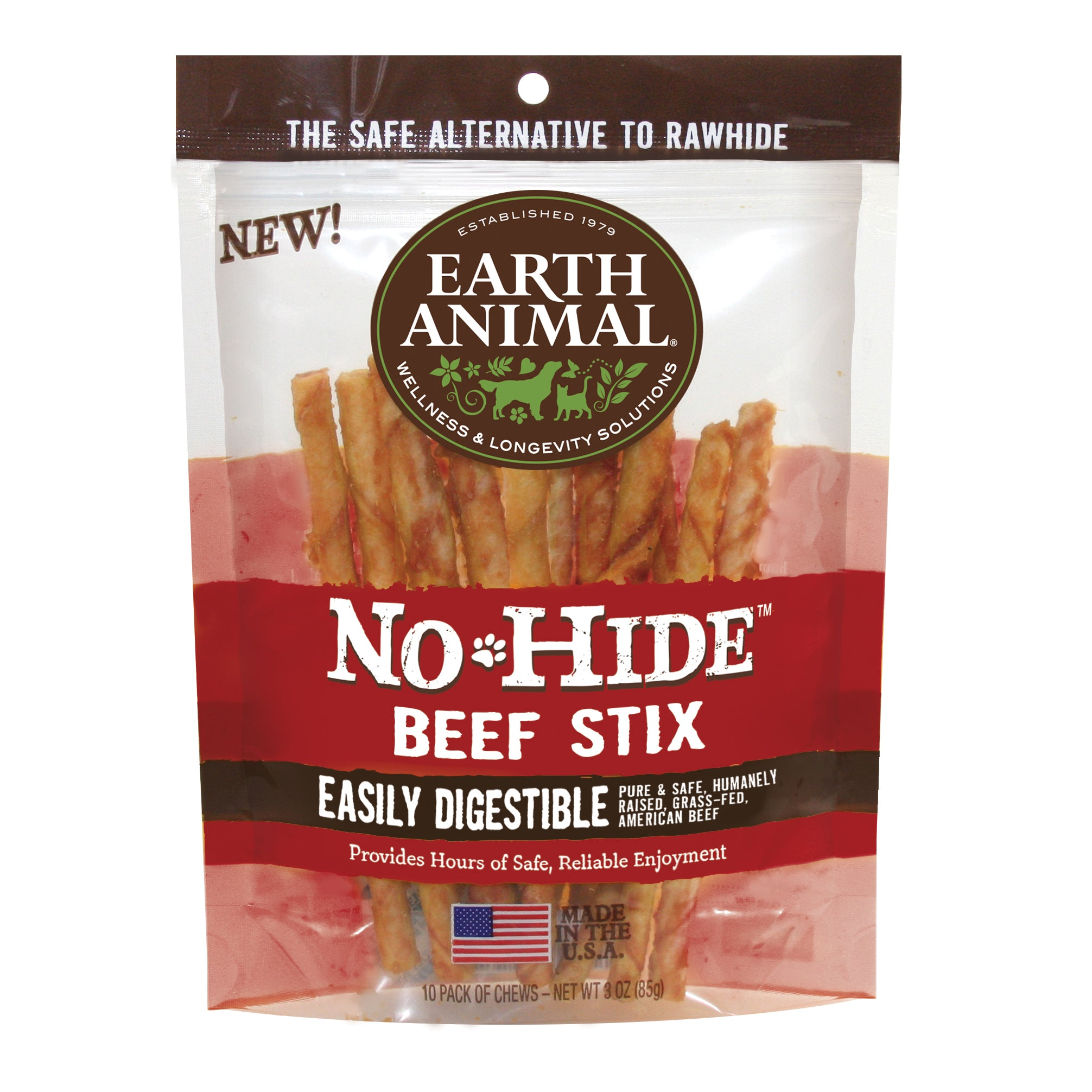 Earth Animal No-Hide Beef Stix 10 pack