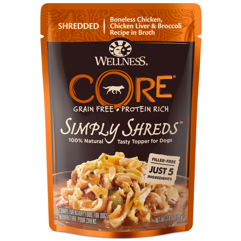 Wellness Core Simply Shreds Chicken, Chicken Liver & Broccoli Wet Dog food