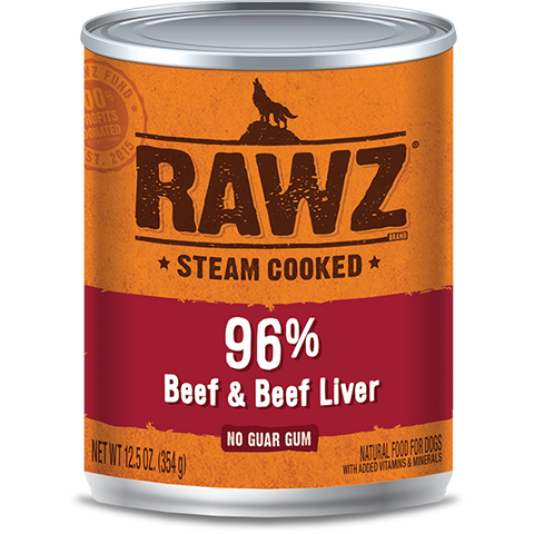RAWZ 96% Beef and Beef Liver Wet Dog Food