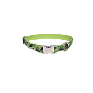 "Coastal Pet Attire Ribbon Designer Adjustable Collar 18-26"" - 1"" Lime Camouflage"