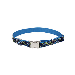 "Coastal Pet Attire Ribbon Designer Adjustable Collar 12-18"" - 5/8"" Navy Blue Plaid"