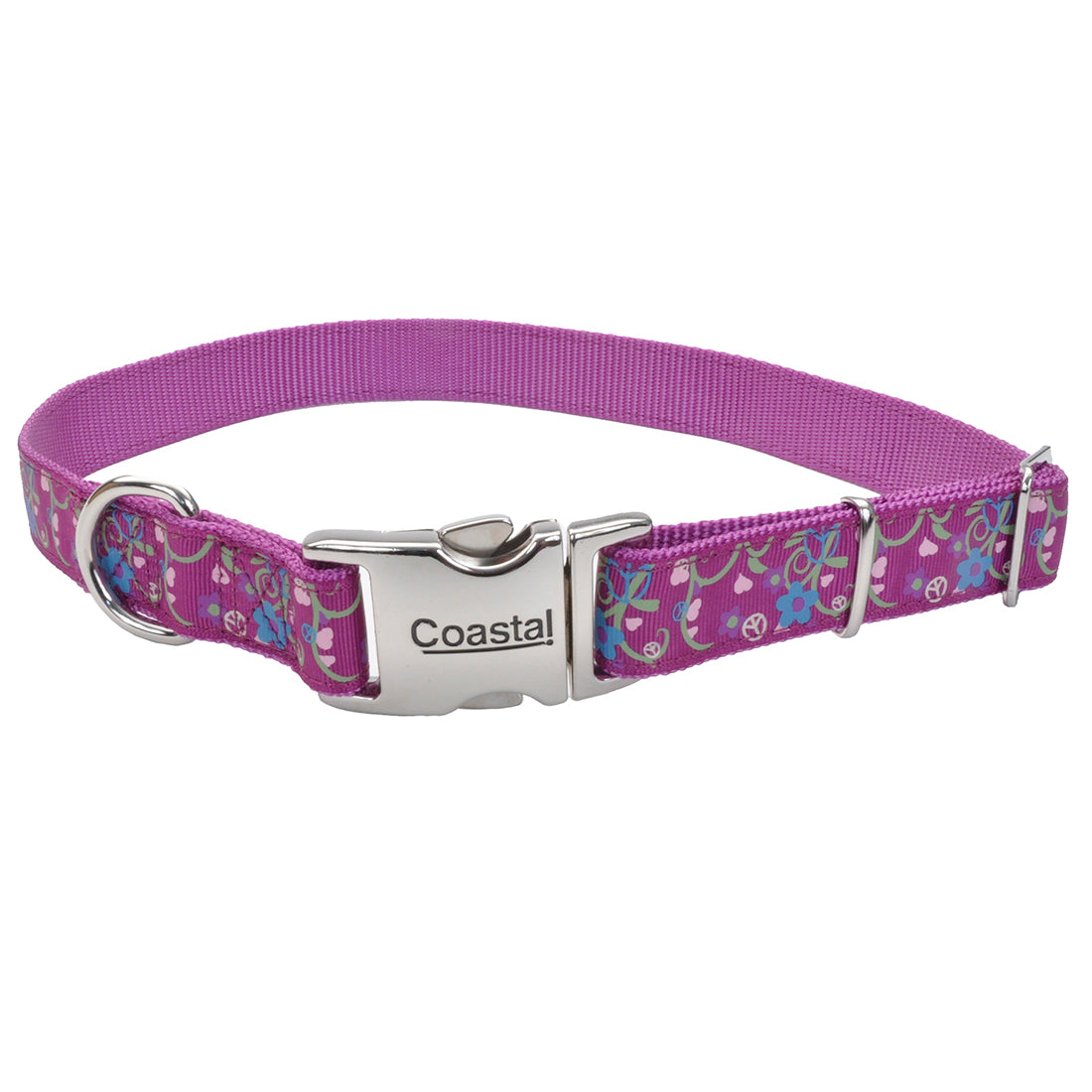 "Coastal Pet Attire Ribbon Designer Adjustable Collar 8-12"" - 5/8"" Orchid Bouquet"