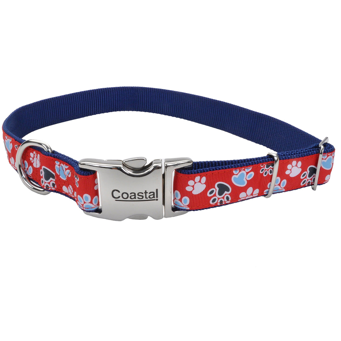 "Coastal Pet Attire Ribbon Designer Adjustable Collar 18-26"" - 1"" Red with Paws"