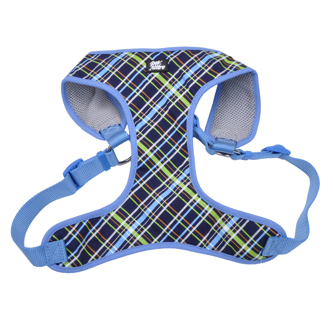 Coastal Pet Attire Ribbon Designer Wrap Harness Small Navy Blue Plaid