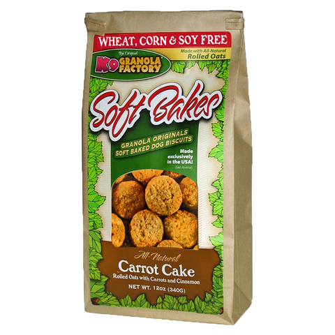 K9 Granols Factory Soft Bakes Carrot Cake Dog Treats available at The Hungry Puppy Pet Food and Supplies Farmingdale, New Jersey