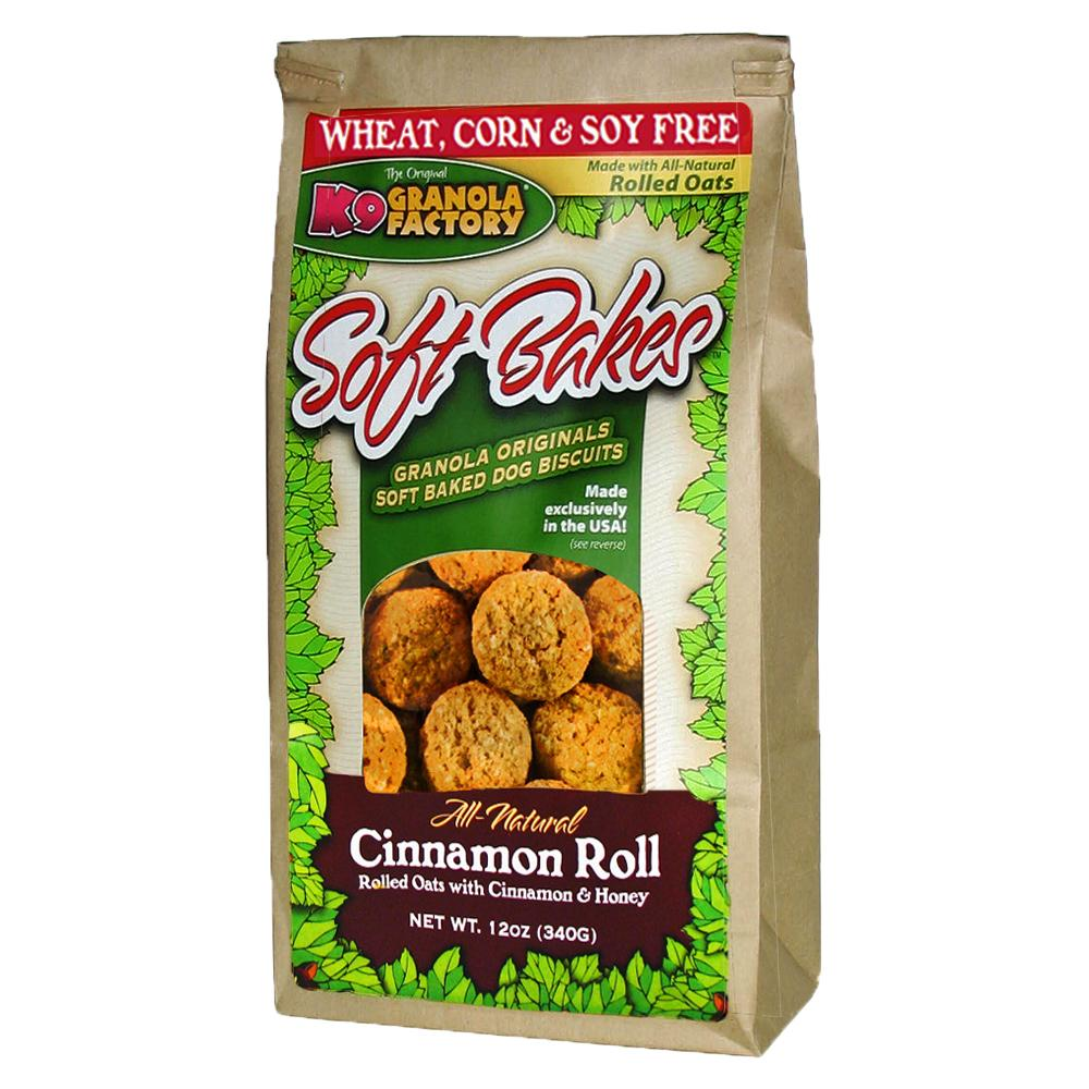K9 Granols Factory Soft Bakes Cinnamon Roll Dog Treats available at The Hungry Puppy Pet Food and Supplies Farmingdale, New Jersey