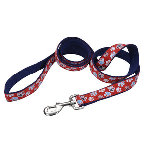 "Coastal Pet Attire Ribbon Designer Leash 6' - 1"" Red with Paws"