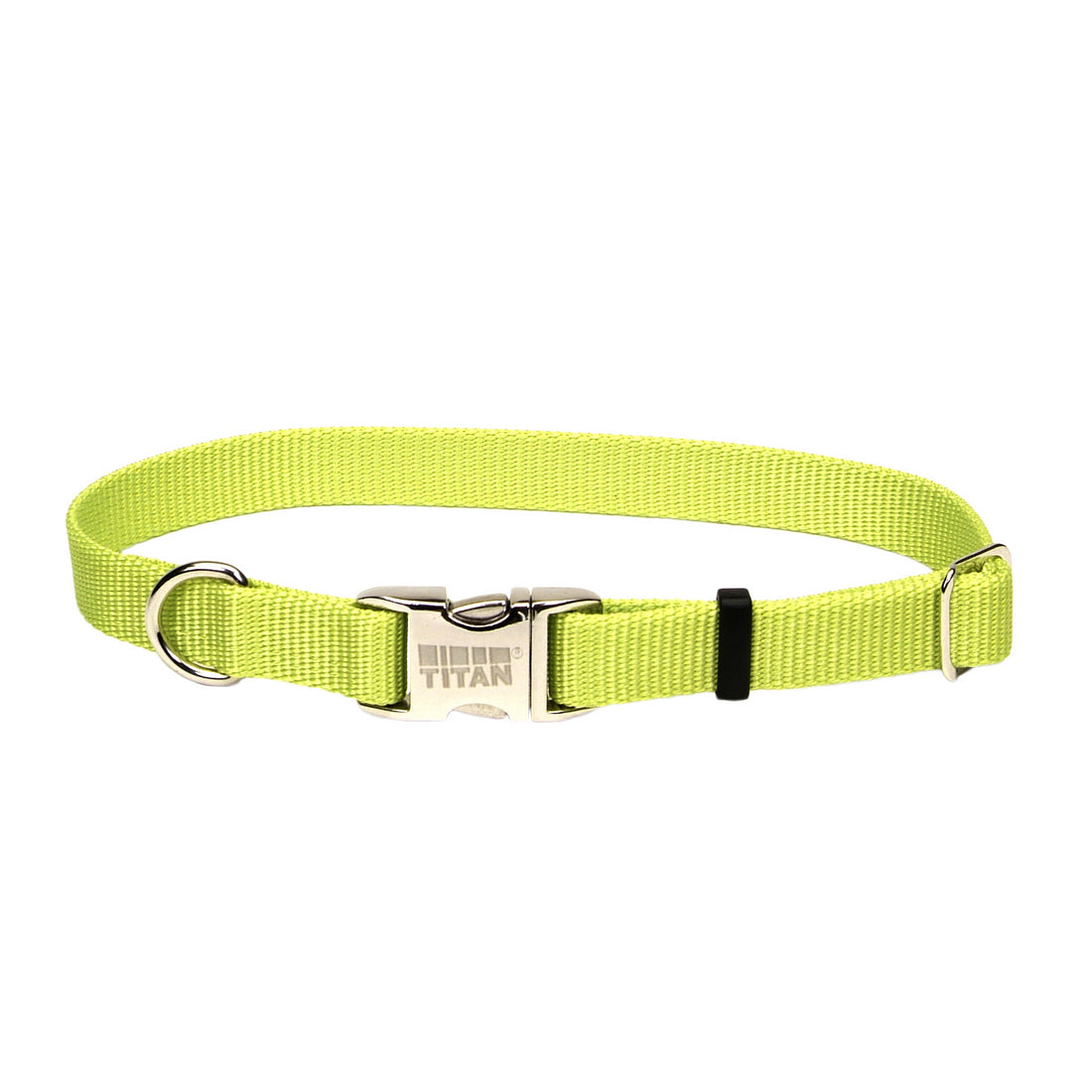 Coastal Adjustable Nylon Collar with Metal Buckle Large Lime