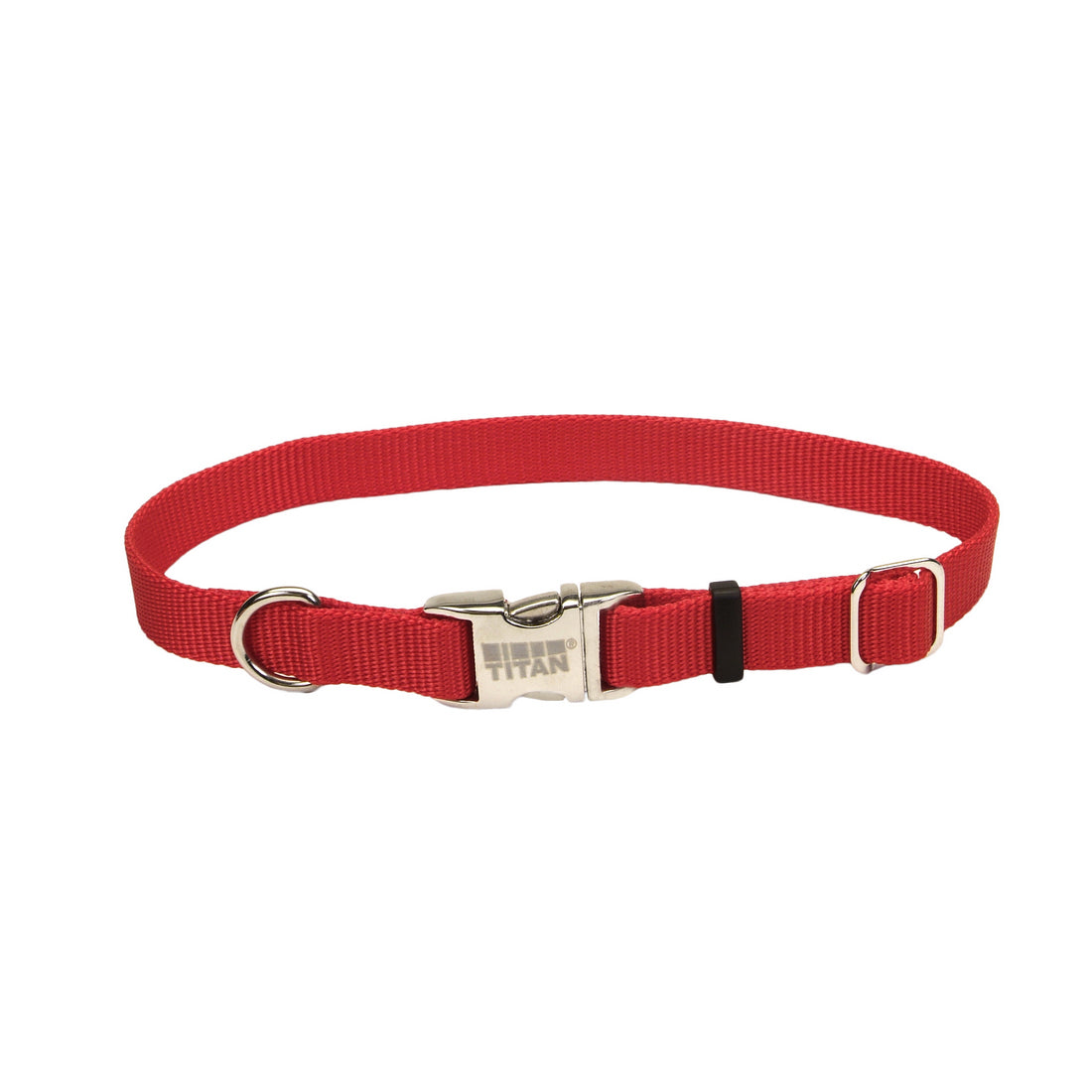 Coastal Adjustable Nylon Collar with Metal Buckle Large Red