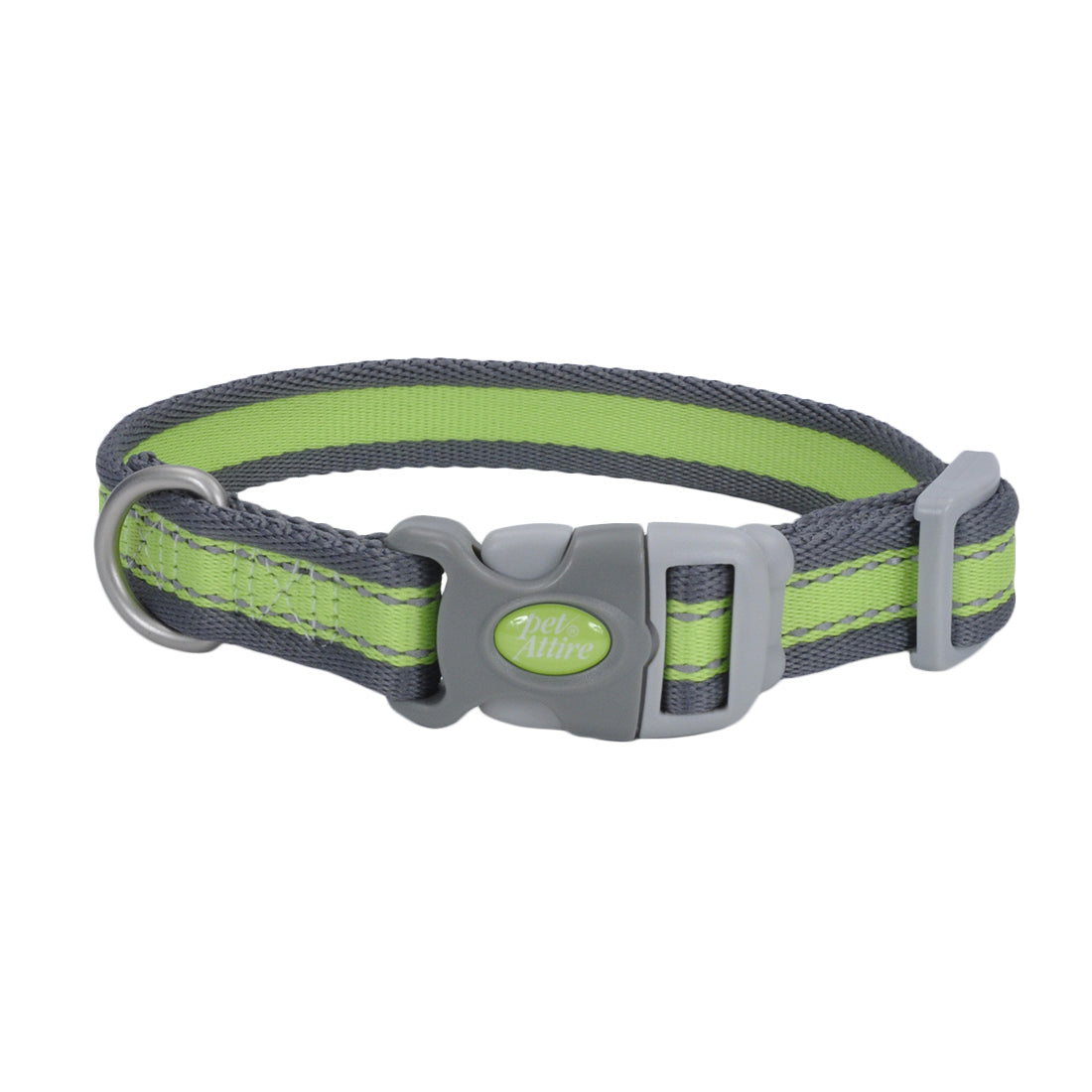 "Coastal Pet Attire Pro Adjustable Reflective Collar 18-26"" Green with Gray"