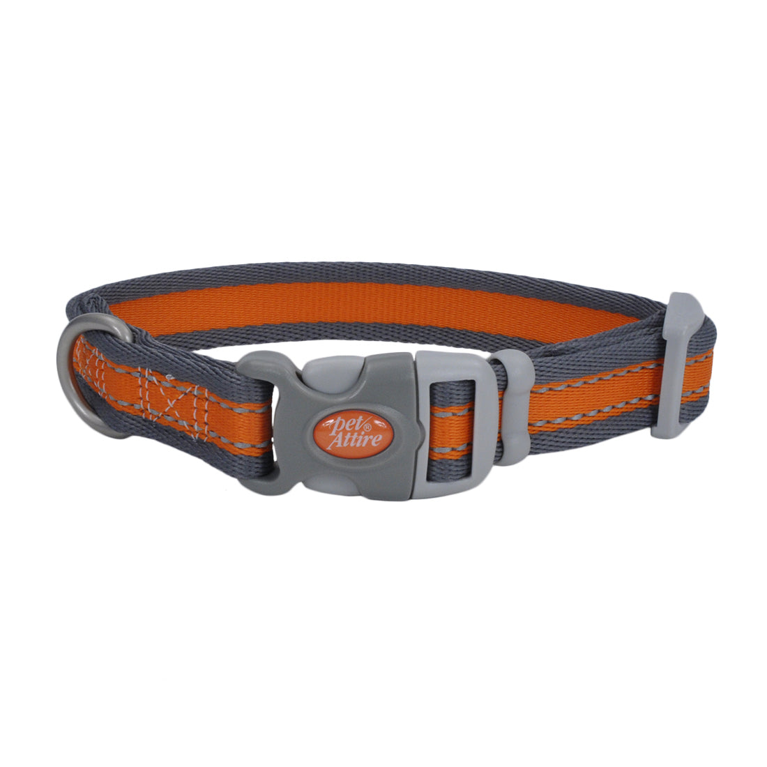 "Coastal Pet Attire Pro Adjustable Reflective Collar 18-26"" - 1"" Orange with Gray"