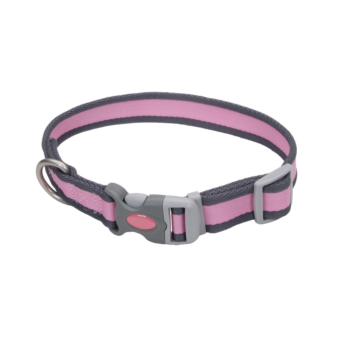 "Coastal Pet Attire Pro Adjustable Reflective Collar 18-26"" - 1"" Pink with Gray"