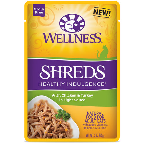 Wellness Healthy Indulgence Shreds with Chicken & Turkey Wet Cat Food
