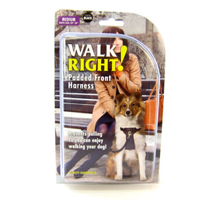 Coastal Walk Right Padded Front Harness Black - Medium