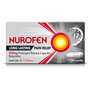 A pack of Nurofen long lasting pain relief 300mg prolonged release capsules