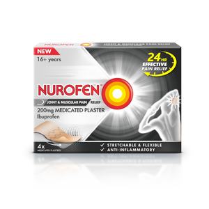 A box of Nurofen Joint & Muscular Pain Relief 200mg Medicated Plaster