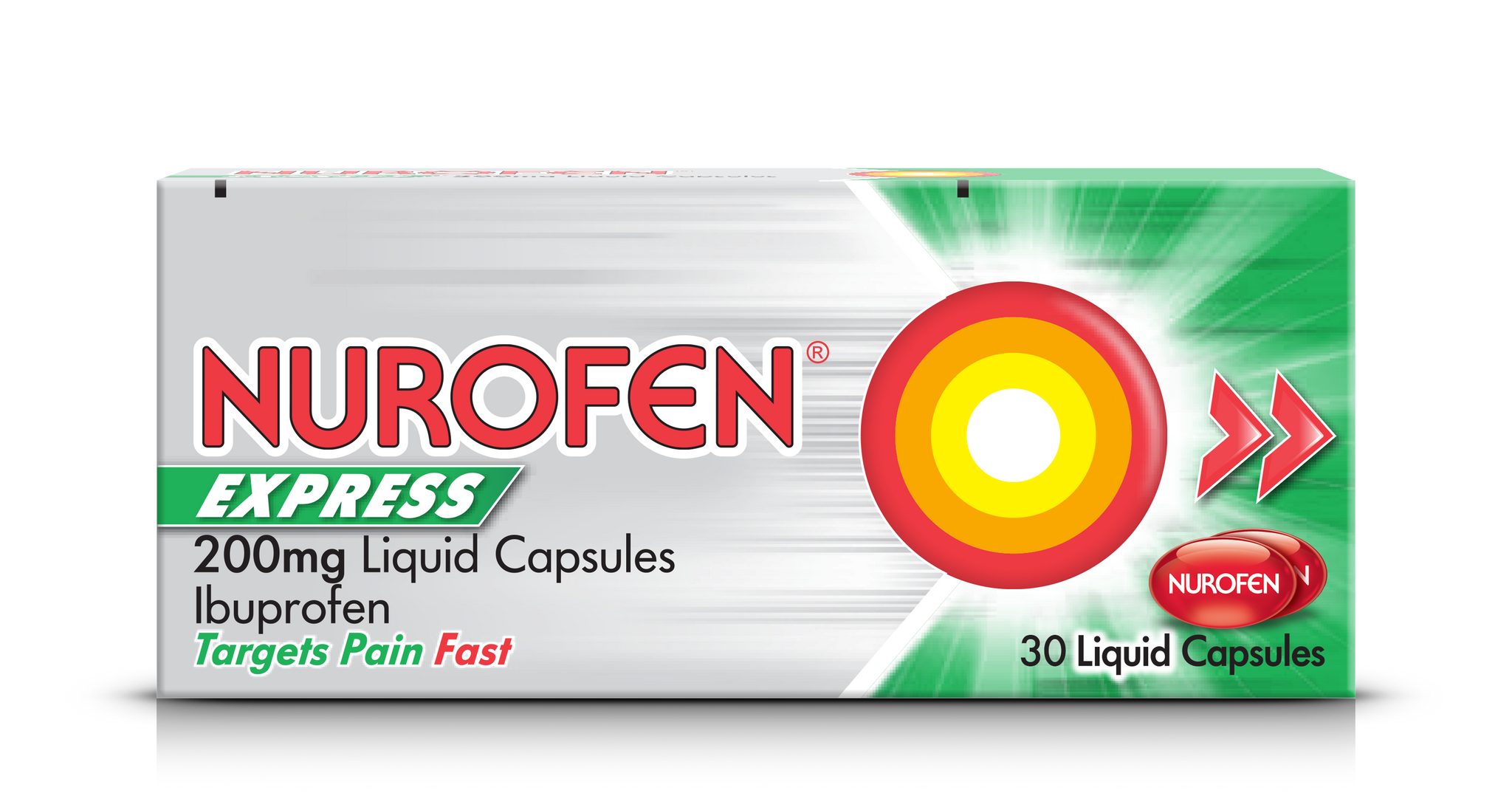A pack of Nurofen Express 200mg Liquid Capsules