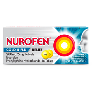 A pack of Nurofen Cold & Flu Relief 200mg/5mg tablets